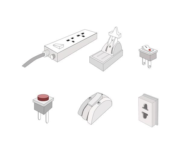 Conjunto de plugues elétricos, soquete, interruptor e disjuntor