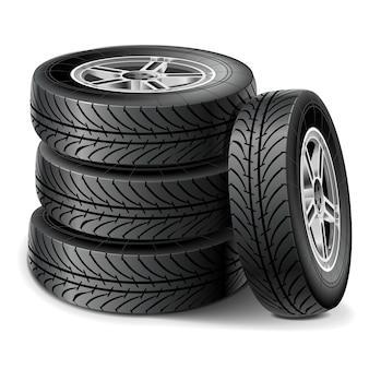 Conjunto de pneu isolado no branco