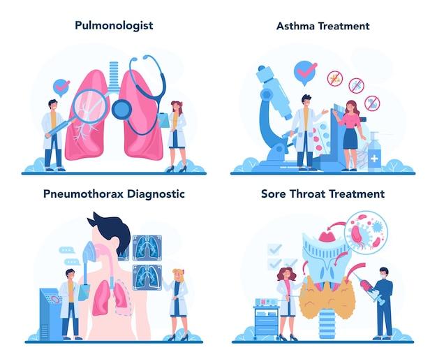 Conjunto de pneumologista. ideia de saúde e tratamento médico.