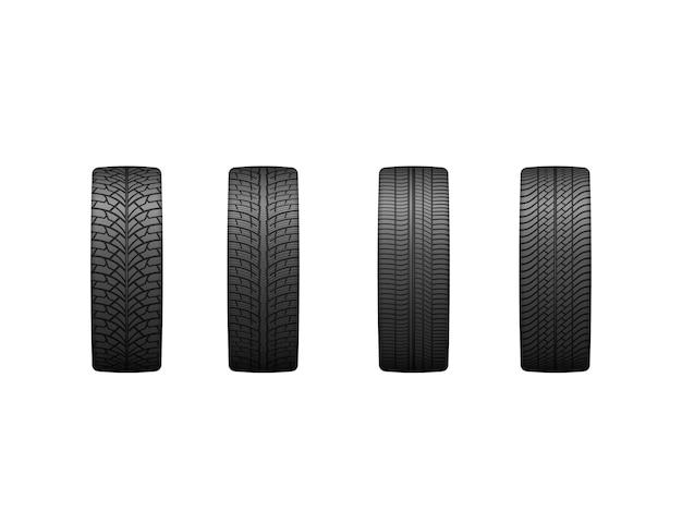 Conjunto de pneus de borracha para vista frontal isolada de temporada de verão e inverno em branco.