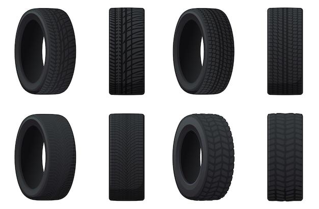 Conjunto de pneus de carro com diferentes bandas de rodagem. pneus de verão, inverno, off-road.