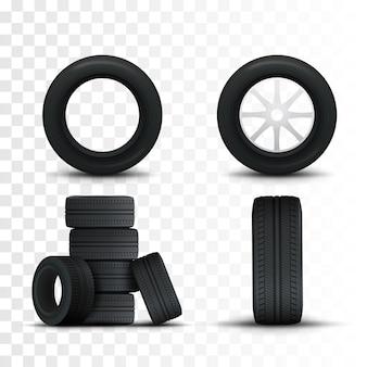 Conjunto de pneus e rodas de carro. pneus de carro 3d realistas isolados no branco.