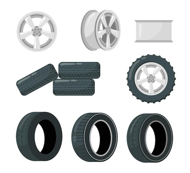 Conjunto de pneus e rodas de carro