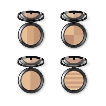 Conjunto de pó cosmético de maquiagem facial em preto redondo