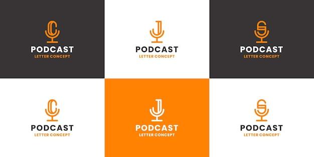Conjunto de podcast combinado com coleção de design de logotipo de carta cjs