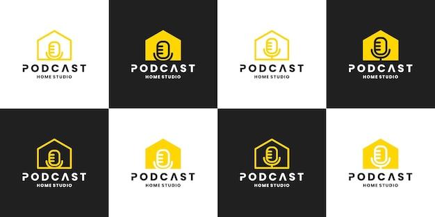 Conjunto de podcast house, estúdio, design de logotipo de gravação