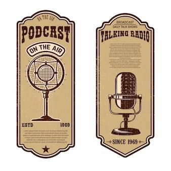 Conjunto de podcast vintage, panfletos de rádio com microfone