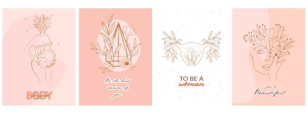 Conjunto de poder feminino motivacional e inspirador para a gravidez