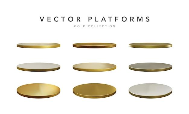 Conjunto de pódio de palco dourado realista