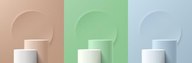 Conjunto de pódio de pedestal de cilindro 3d bege, verde, azul e branco abstrato com pano de fundo do círculo. coleção de cenas de parede mínimas em tons pastel. plataforma de renderização vetorial moderna para apresentação de exposição de produtos.