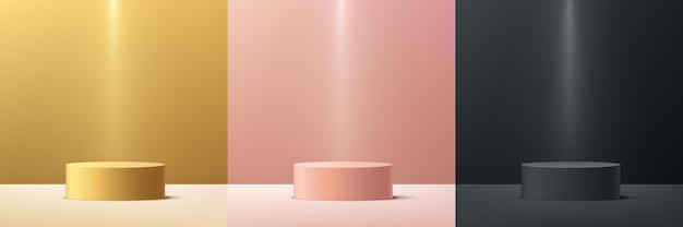 Conjunto de pódio de pedestal de cilindro de luxo 3d ouro rosa ouro preto abstrato com iluminação