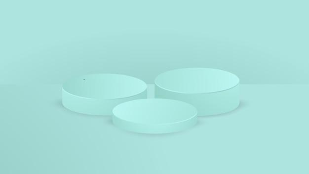 Conjunto de pódio de pedestal de cilindro verde claro. vetor abstrato que rende a forma 3d. apresentação de exposição de produtos cosméticos. cena de parede mínima.