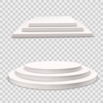 Conjunto de pódio do vencedor. branco 3d redondo e quadrado pedestais de três passos