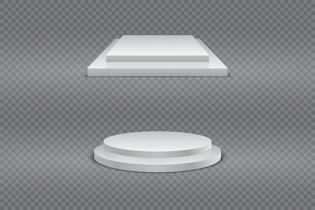 Conjunto de pódio vencedor. rodada e quadrado 3d pódio de dois estágios, pedestal ou plataforma em fundo transparente.