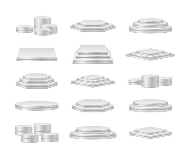 Conjunto de pódios brancos em fundo transparente