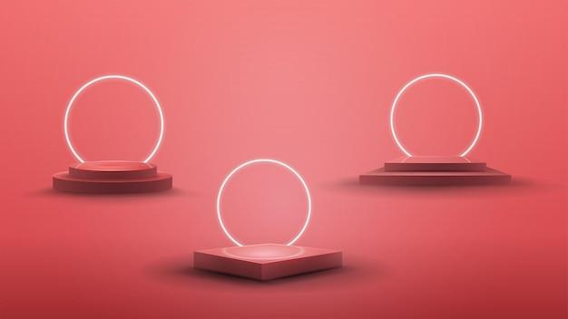 Conjunto de pódios com anéis de néon brancos no fundo para suas artes