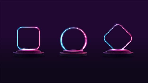 Conjunto de pódios com quadros de néon gradiente no fundo para suas artes