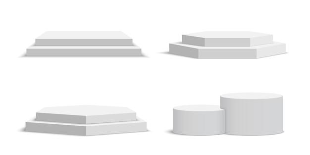 Conjunto de pódios em branco brancos. pedestal.