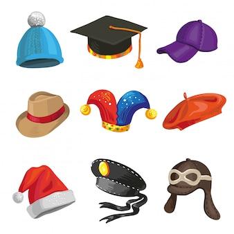Conjunto de polícia de desenho animado e chapéus de palhaço.