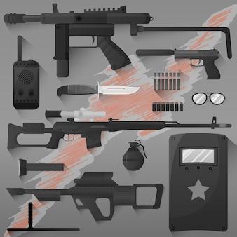 Conjunto de policiais da swat
