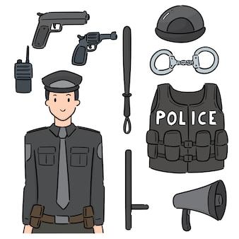 Conjunto de policiais e equipamentos