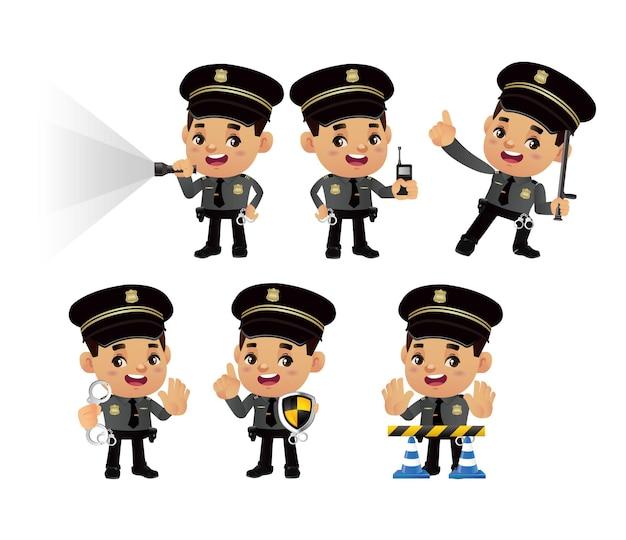 Conjunto de policial com diferentes poses