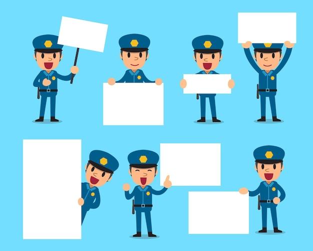 Conjunto de policial com quadro em branco