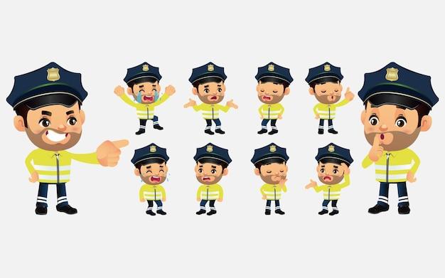 Conjunto de policial de trânsito com emoção diferente