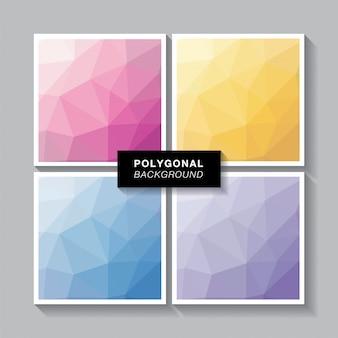 Conjunto de polígono 4 cores doces
