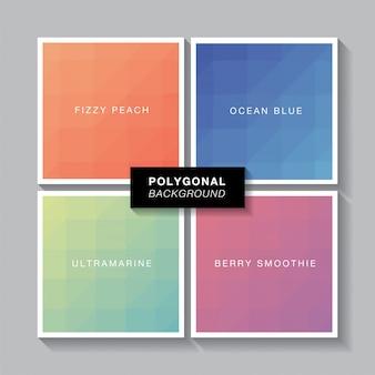 Conjunto de polígono 4 cores gradientes