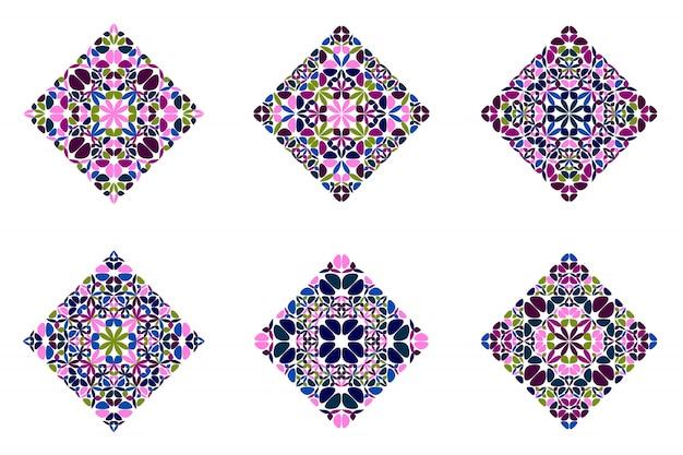 Conjunto de polígono quadrado diagonal floral abstrato geométrico ornamentado