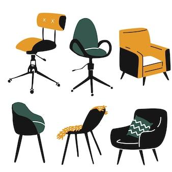 Conjunto de poltronas sofá confortável e cadeira de escritório diferentes tipos de assentos design moderno