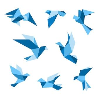 Conjunto de pombo voador azul e pássaros pombos