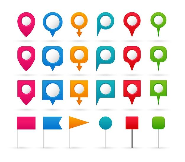 Conjunto de ponteiros coloridos. ícones de navegação e localização.