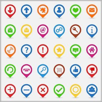 Conjunto de ponteiros com ícones, ilustração