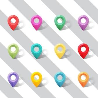 Conjunto de ponteiros de cores vivas