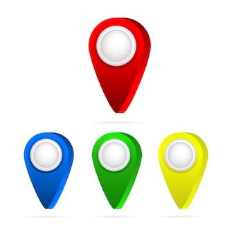 Conjunto de ponteiros de mapa brilhante. ícone de pino de mapa.