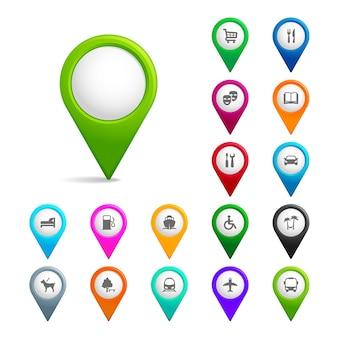 Conjunto de ponteiros de mapa com ícones isolados em branco