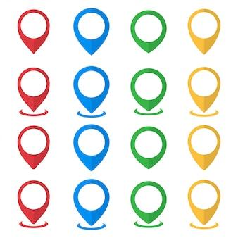 Conjunto de ponteiros de mapa. ilustração vetorial