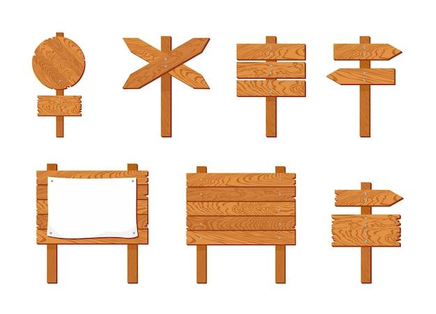 Conjunto de ponteiros e placas de sinalização de madeira.