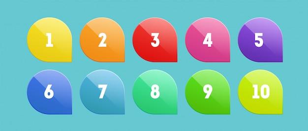 Conjunto de ponto de bala com números