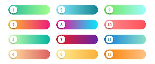 Conjunto de ponto de bala número 1 a 12 botões coloridos web de vetor
