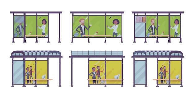 Conjunto de ponto de ônibus. coloque os passageiros aguardam transporte público, banners com propaganda. embelezamento de rua da cidade, conceito urbano. estilo cartoon ilustração, posições diferentes