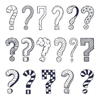 Conjunto de pontos de interrogação desenhados em estilos diferentes. rabiscos. ilustração da coleção de símbolos de pergunta