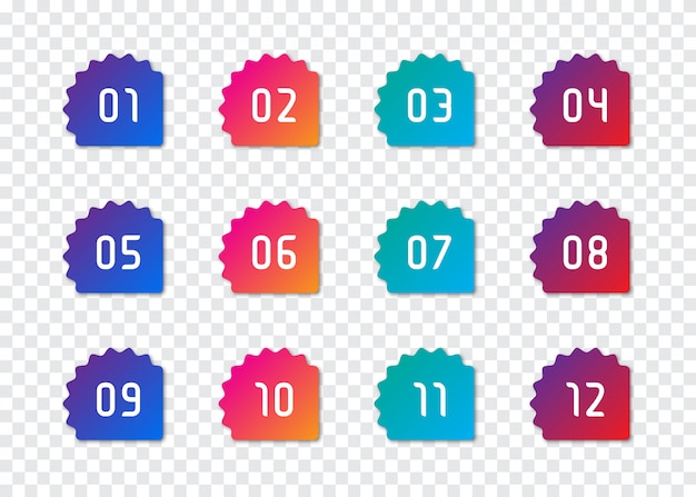 Conjunto de pontos de marcador de número 1 a 12