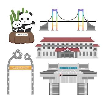 Conjunto de pontos turísticos de tóquio