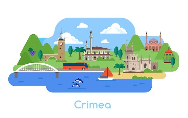 Conjunto de pontos turísticos na crimeia. arquitetura turística popular