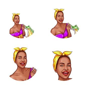 Conjunto de pop art vector rodada ícone de avatar