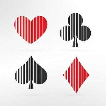 Conjunto de pôquer ícone de cartões elementos