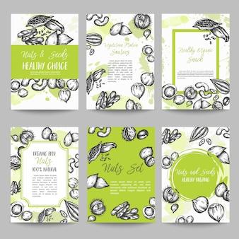 Conjunto de porcas e sementes de coleção de cartões mão ilustração vetorial desenhada com elementos de nozes e sementes, estilo retrô vintage